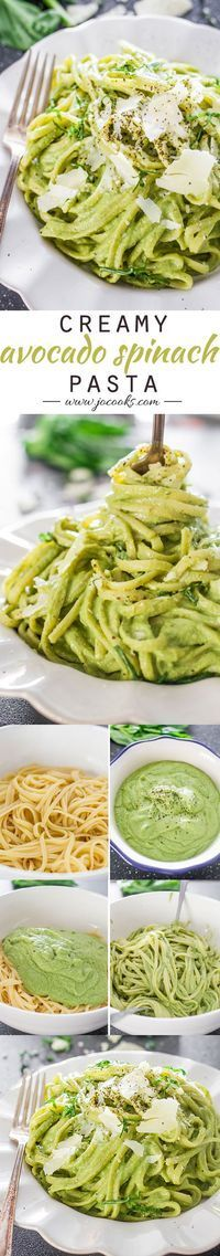 Creamy Avocado and Spinach Pasta. Make with zucchini noodles for paleo: