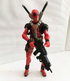 DEADPOOL RED VARIANT 3 w/CUSTOM WEAPONS • C9 • MARVEL UNIVERSE HASBRO #MarvelToys