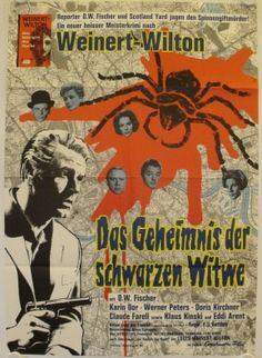 """Das Geheimnis der schwarzen Witwe (1963) (""""The Secret of the Black Widow"""") Stars: O.W. Fischer, Karin Dor, Klaus Kinski, Werner Peters, Doris Kirchner ~ Director: Franz Josef Gottlieb (O.W. Fischer was nominated for a Bambi Award for Best National Actor in 1964)"""