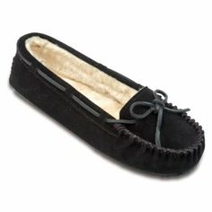 Minnetonka Womens Cally Slippers - Black Suede