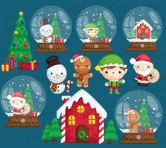 Christmas Character Clipart - Snow Globe Clip Art - Holiday Clipart - Free SVG on Request Christmas Design, Christmas Themes, Christmas Diy, Christmas Cards, Christmas Pictures, Merry Christmas, Cute Animal Clipart, Holiday Images, Christmas Decorating Ideas