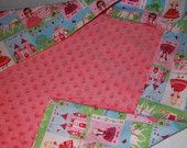 baby receiving blanket--pink minky with princess theme