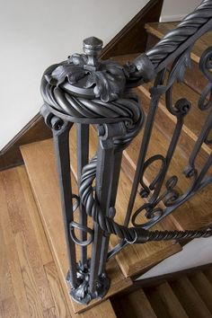 Custom Wrought Iron Stairway Newel Post - with hand twisted railing. Metal Projects, Metal Crafts, Steel Handrail, Blacksmith Forge, Wrought Iron Gates, Wrought Iron Staircase, Blacksmith Projects, Forging Metal, Steel Art