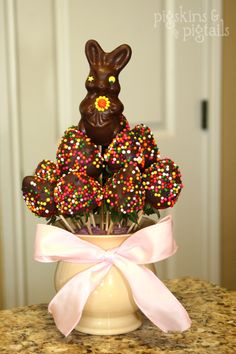 Happy Easter-chocolate covered strawberries arranged with a bunny in the center