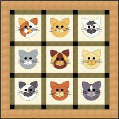 cat applique quilt   Tom Cats Quilting Pattern FCP-018 (advanced beginner, lap and throw)