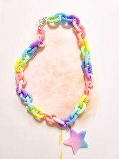 Face Gems, Face Jewels, Rave Accessories, Handmade Accessories, Rainbow Choker, Resin Charms, Star Pendant, Chokers, Charmed