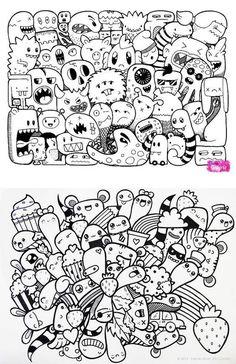Onstet Cute Doodle Art, Doodle Art Designs, Doodle Art Drawing, Doodle Sketch, Cute Art, Drawing Ideas, Monster Coloring Pages, Cute Coloring Pages, Graffiti Doodles