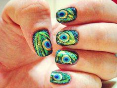 nägel, nails, paznokcie, peacock, pfau, nail art, nail design, manicure