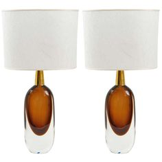 """A Pair of Seguso """"Sommerso """" Murano Glass signed table lamps.1950's 
