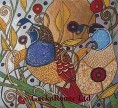 Modern Cross Stitch Kit 'Two Quails' by Lynnette by GeckoRouge
