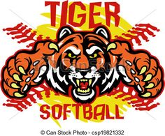Vector - tiger softball - stock illustration, royalty free illustrations, stock clip art icon, stock clipart icons, logo, line art, EPS picture, pictures, graphic, graphics, drawing, drawings, vector image, artwork, EPS vector art