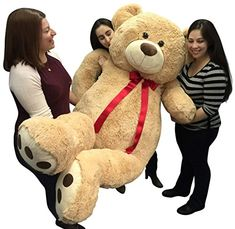 Big Plush Giant 6 Ft Teddy Bear 72 Inch Tan Soft Oversized Teddybear Weighs 22 Pounds * Details can be found by clicking on the image.