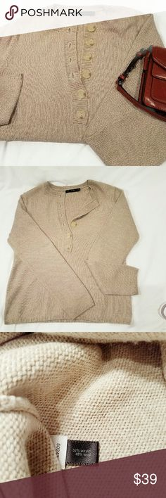 The Limited Sweater The Limited Sweater beige.  So soft!  Six button detail in front.  Gently loved, clean. The Limited Sweaters