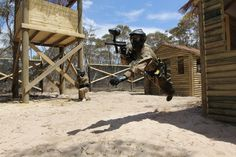 Impressive jump! Amazing shot! Well done paintballer! Good job photographer! #paintballing