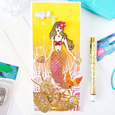 Marvelous Mermaids Collection by Jane Davenport Birthday Sentiments, Birthday Cards, Foam Crafts, Paper Crafts, Fashion Illustration Collage, Spellbinders Cards, Distress Oxide Ink, Mermaid Art, Mermaid Birthday