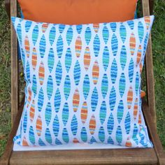 OUTDOOR cushions decorative pillow cover by SunnyblueDesigns Covered Decks, Outdoor Cushions, Decorative Pillow Covers, Printing On Fabric, Vibrant, Textiles, Colours, Throw Pillows, The Originals
