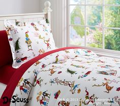 Dr. Seuss's The Grinch™ Flannel Duvet Cover | Pottery Barn Kids