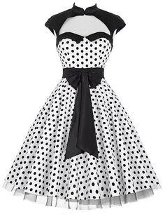 1950s Vintage Dresses Polka Dot Dress Retro Swing Pin Up