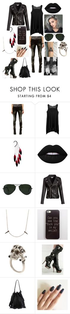 """Untitled #156"" by savedbybands ❤ liked on Polyvore featuring BLANKNYC, Splendid, Anni Jürgenson, Lime Crime, Ray-Ban, Skyler Man, Alexander McQueen, Demonia and Loeffler Randall"