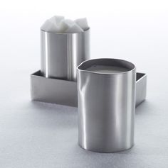 Our best-selling coffee accessory line just got better!  These new creamers are available in brushed satin or hammered stainless steel.