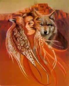 Beautiful Native Woman, Wolf and bird