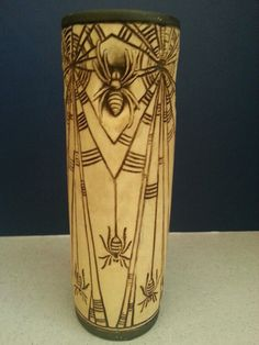 This wonderful WELLER POTTERY BURNTWOOD vase was made circa It features four intricate radiating spiderwebs at the tope of the vase. Four large raised spiders are inbetween. Weller Pottery, Antique Pottery, Arts And Crafts, Porcelain, Vase, Ceramics, Spiders, Antiques, Beautiful