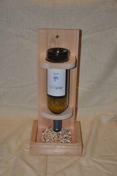 Wine bottle bird feeder, hanging bird feeder, repurposed, cedar