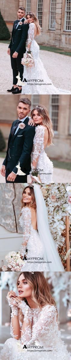 3ded762507c White Long Sleeve Lace Wedding Dresses Backless Romantic Wedding Gowns  Bridal Gowns AMY2868
