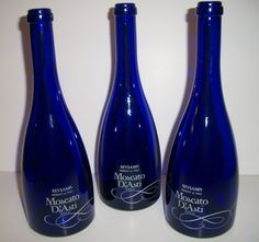 Cobalt Blue Moscato wine bottles.