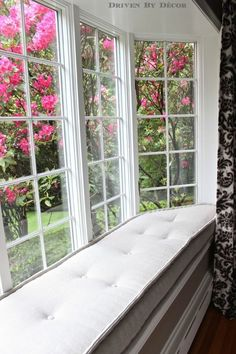 French mattress style window seat cushion - love the tufting!