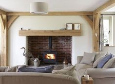 Home Decored Country Living Room Log Burner 63 Ideas Inglenook Fireplace, Fireplace Design, Fireplaces, Log Burner Fireplace, Open Fireplace, Border Oak, Oak Framed Buildings, Oak Frame House, Cottage Interiors