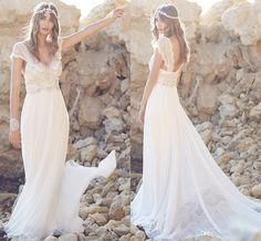 2016 New Anna Campbell Bohemian Wedding Dresses Beaded Scoop Sexy Open Back Bridal Dresses Sheer Lace Capped Sleeves Beach Wedding Gowns Wedding Dress Patterns Wedding Party Dresses From Allanhu, $183.25| Dhgate.Com