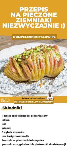 Jeśli znudziły Wam się gotowane ziemniaki to musicie wypróbować ten przepis. Pyszne nacinane ziemniaki z dodatkami. To jest coś co podbije każdy stół. Zróbcie je do obiadu, a na pewno zaskoczycie wszystkich :) Polish Recipes, Kitchen Magic, Eating Well, Baked Potato, Recipies, Food Porn, Easy Meals, Food And Drink, Tasty