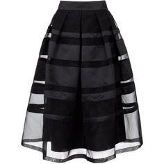 Temperley Black Satin Freya Ribbon Skirt ($1,100) ❤ liked on Polyvore