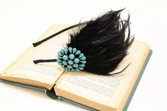 Black Color Feather With Turquoise Metal Jewel