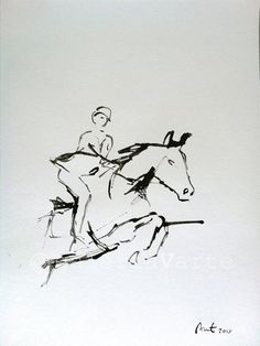 Original ink drawing   Horseback Riding  art  by galeriaVarte