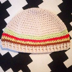 Abstract burger crochet hat @mindful_stitch instagram
