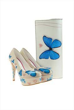 Mavi Kelebek Çanta Ayakkabı Seti ST7001