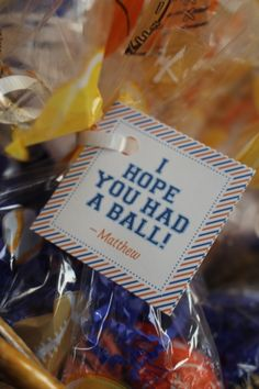 "Sports Theme Birthday Party- Vintage Sports Party Theme- Sports Party Favors ""I Hope you had a ball"""