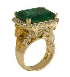 Magerit Lion Wings Emerald and Diamond Ring