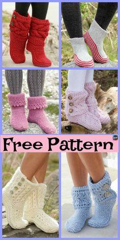 Knit Slippers Free Pattern, Crochet Slipper Pattern, Knit Crochet, Crochet Patterns, Crotchet, Crochet Ideas, Crochet Slipper Boots, Knitted Slippers, Beginner Knitting Patterns