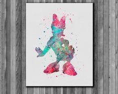 Daisy Duck DISNEY - Art Print, instant download, Watercolor Print, poster