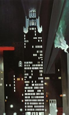 Georgia O'Keeffe — Radiator Building,  1927. Painting: oil on canvas.  • Cityscape  • 1920s