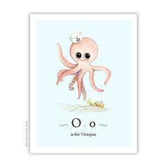 Ocean themed nursery Octopus print Octopus painting by joojoo