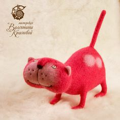 Pink Needle Felted Kitty -OMG just too cute