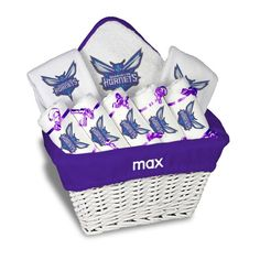 Pin by designs by chad and jake on charlotte hornets baby gifts charlotte hornets newborn infant personalized large gift basket white negle Gallery