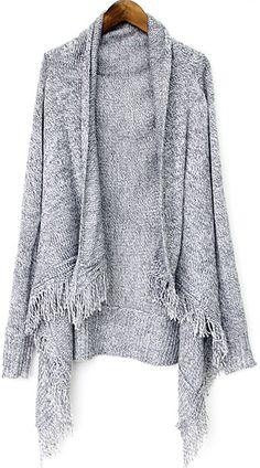 Grey Batwing Sleeve Asymmetrical Tassel Cardigan - Sheinside.com, $38.03