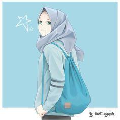 Anime Art Beautiful Hijab New Ideas Hijab Anime, Anime Art Girl, Anime Girls, Hijab Drawing, Islamic Cartoon, Hijab Cartoon, Islamic Girl, Muslim Girls, Beautiful Hijab