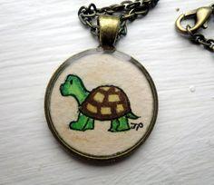 Turtle Necklace Original Watercolor Art Necklace by LaRueStudio
