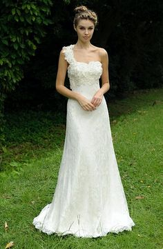 Asymmetric Sheath Wedding Dress  with Natural Waist in Lace. Bridal Gown Style Number:32335481